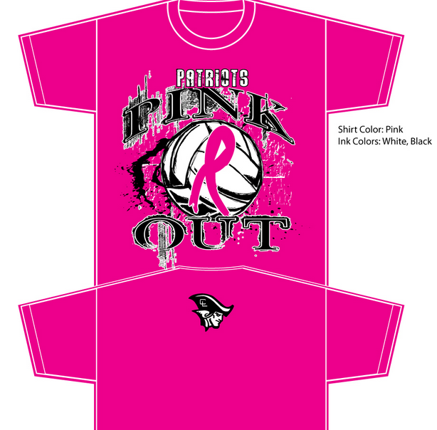 clarkson public schools pink out shirts for volleyball