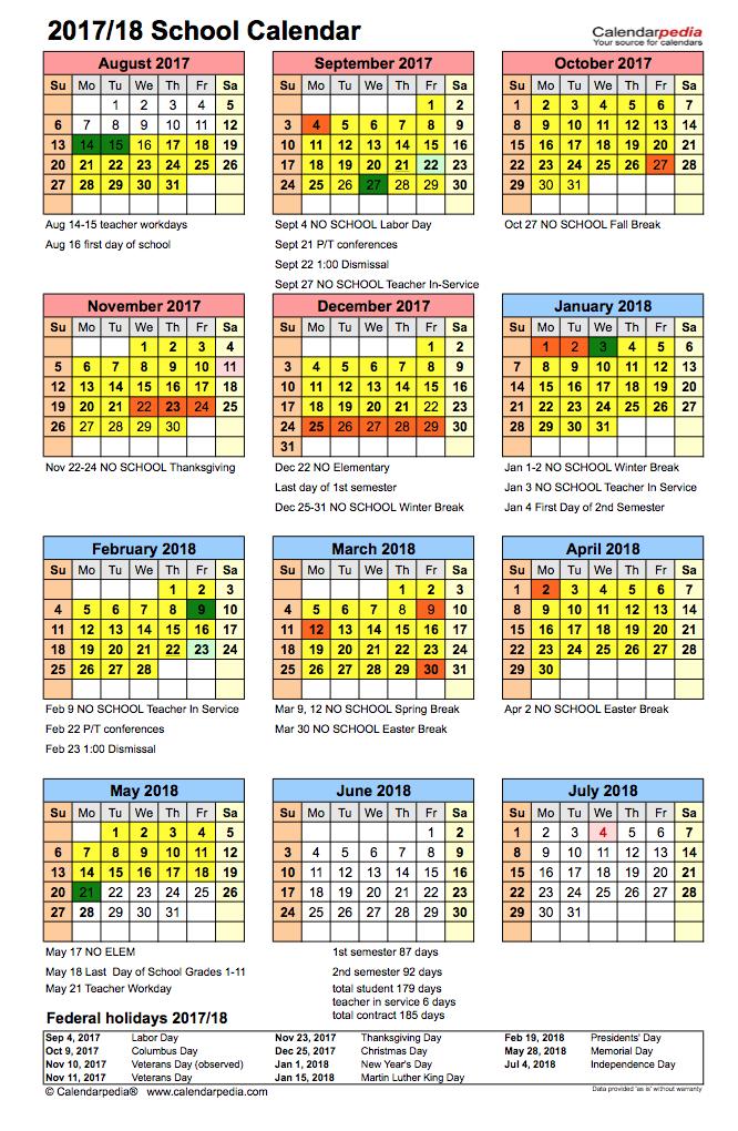 Clarkson Public Schools - 2017-2018 District Calendar