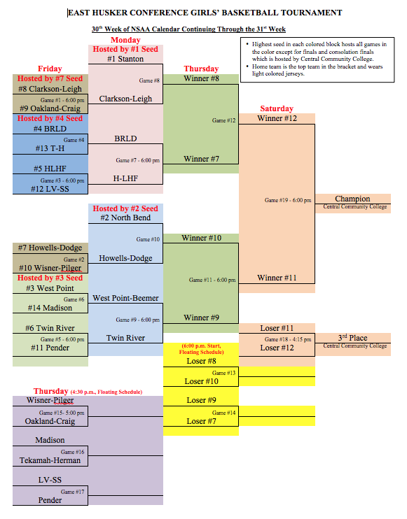 The girls will play Howells-Dodge at 6:00 pm in Humphrey on Thursday,  February 1st. Clarkson Public Schools649 ...